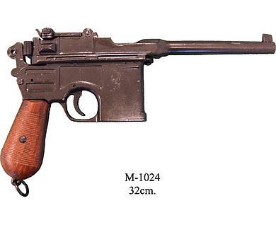 Mauser (Pistole) schwarz m.Holzgriff roh