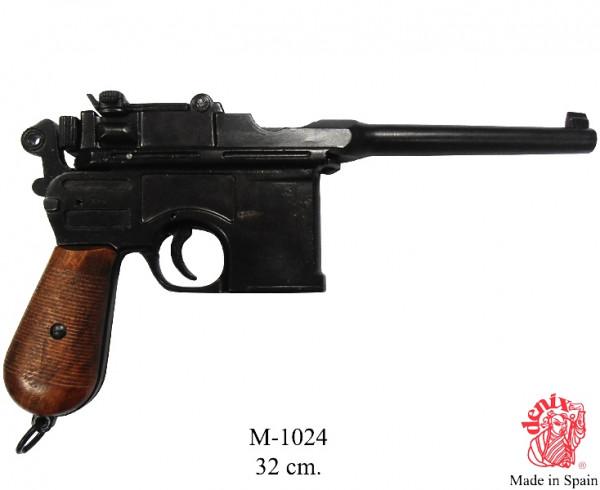 Mauser (Pistole) schwarz m.Holzgriff lackiert