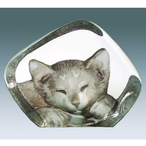 Mats Jonasson Miniatur-Color-Kristall Katze