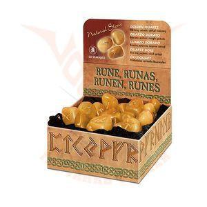 Runen Goldquarz-Steine mit Beutel