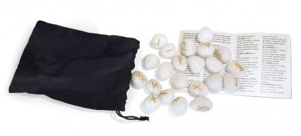 Runen weißer Onyx mit Beutel