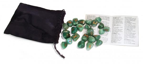 Runen grüne Aventurin Steine mit Beutel