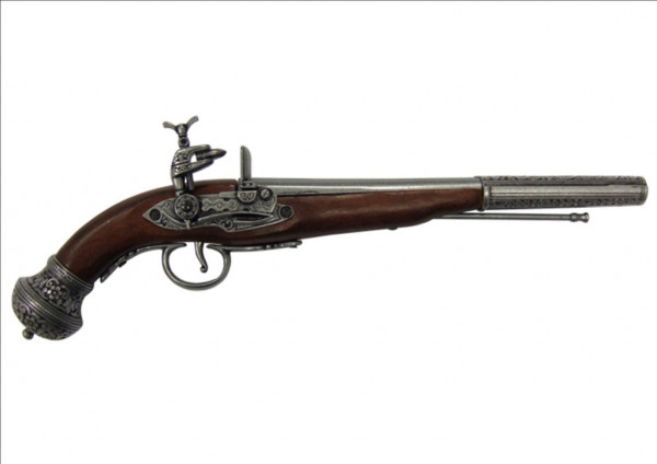 Russische Steinschloßpistole silberf.