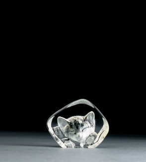 Mats Jonasson Miniatur-Kristal Katze