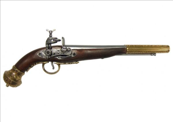 Russische Steinschloßpistole messingf.