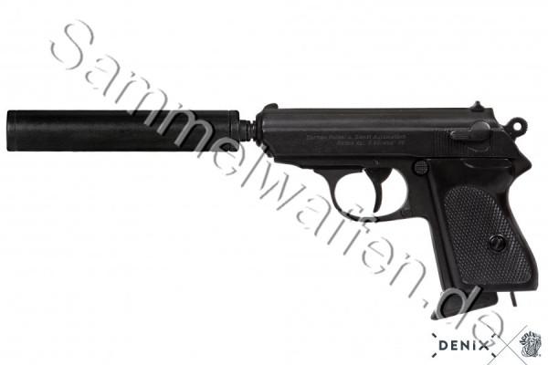 Pistole Engl. Geheimagent,mit Schalldämpfer