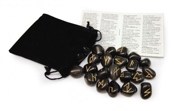 Runen aus schwarzem Achat mit Beutel