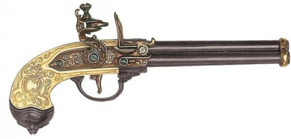 Dreiläufige Steinschloßpistole