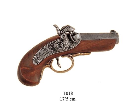 Derringer (Pistole), Holz m. Metall,grau